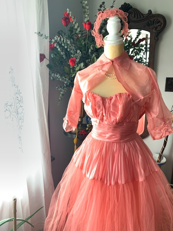50s Rose Pink Tulle Dress, 50s Pink Tulle Dress, … - image 8