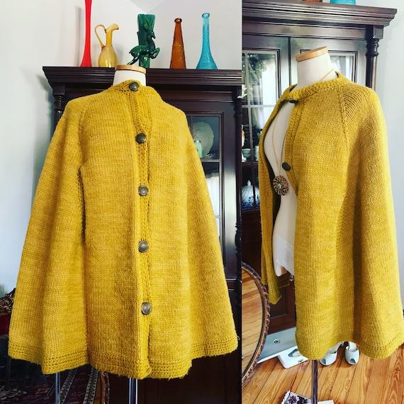 Vintage Mustard Yellow Knit Poncho, 60s Wool Knit