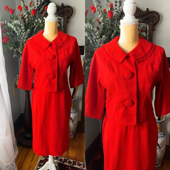60s Red Suit, 60s Red Wool Suit, Size Small 60s Dr