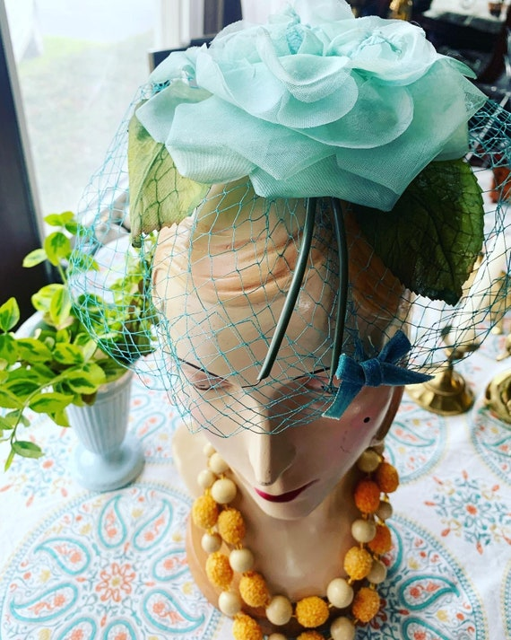 50s Blue Rose Fascinator, 50s Rose Mini Hat, 50s … - image 10