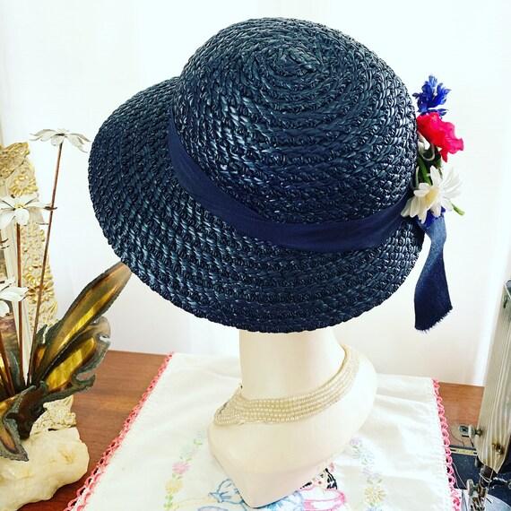 40s Navy Blue Straw Hat, 40s Blue Summer Hat, 40s… - image 5