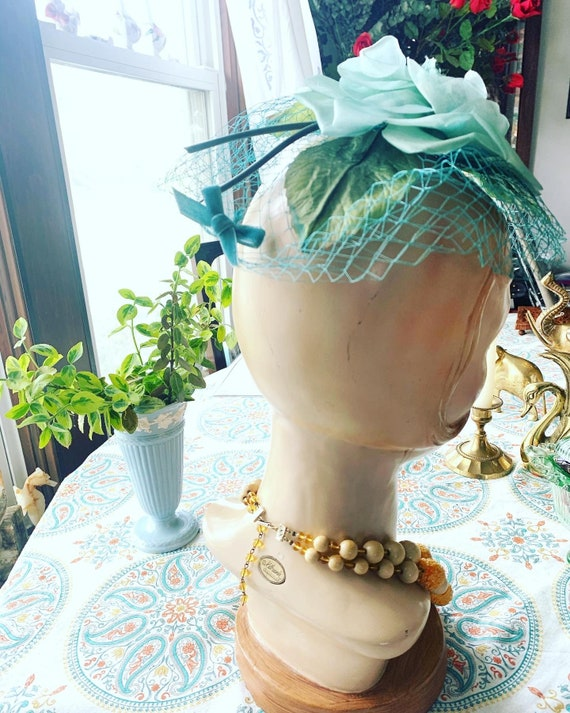 50s Blue Rose Fascinator, 50s Rose Mini Hat, 50s … - image 6