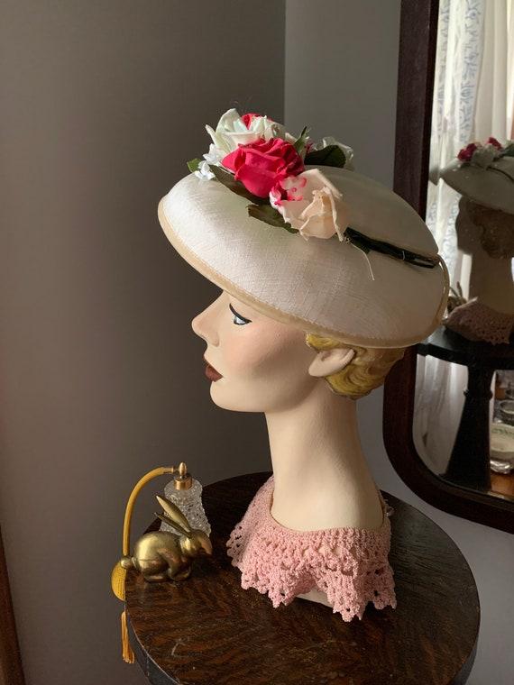 50s Rose Hat, Vintage Hat With Roses, 50s Flower … - image 2