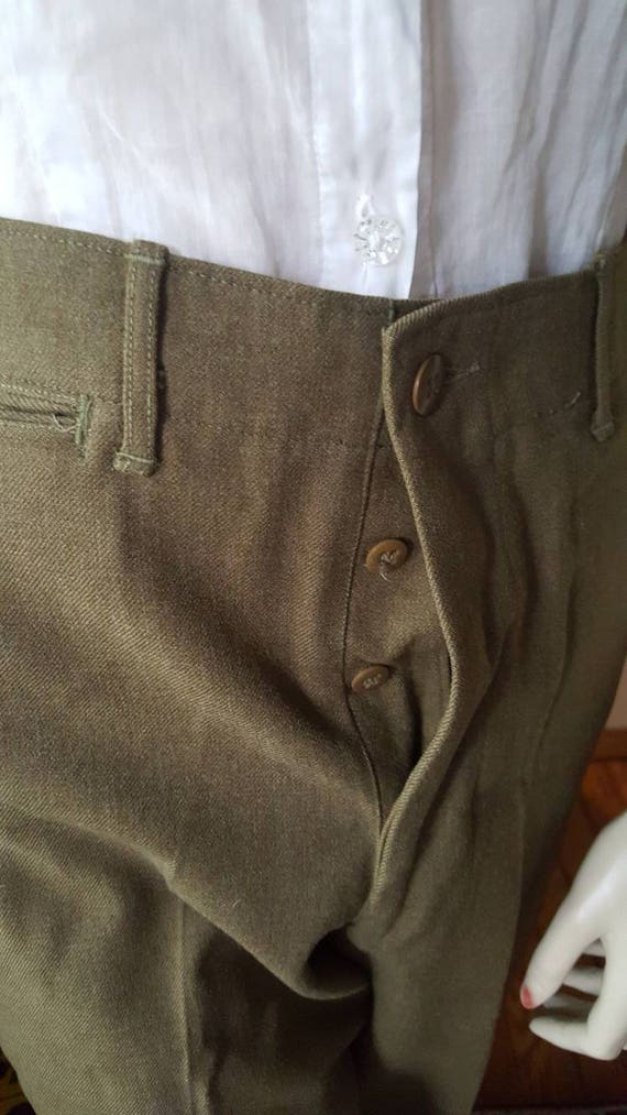 40's WW2 Men's Green Vintage Two 1940s Army Waist Wool War Women's Pants High WWII World 40s pqrpwn0R