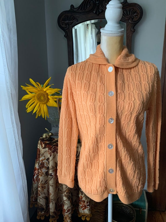 Vintage Orange Cardigan, Vintage Orange Sweater, 5