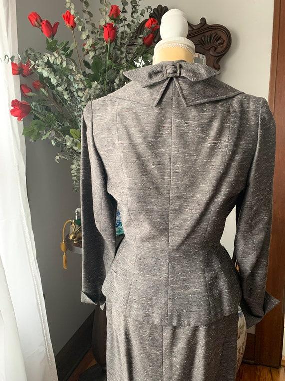 40s Grey Dress Suit, 40s Leslie Fay Pencil Suit, … - image 6