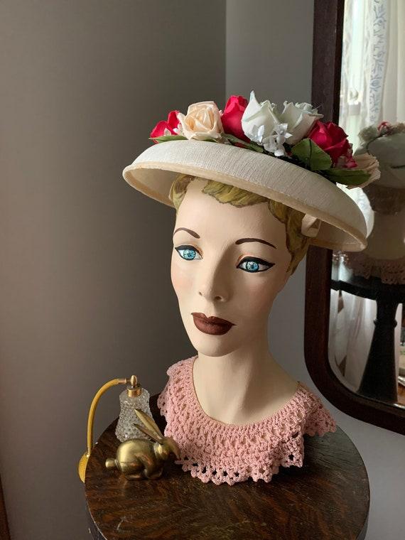 50s Rose Hat, Vintage Hat With Roses, 50s Flower … - image 5
