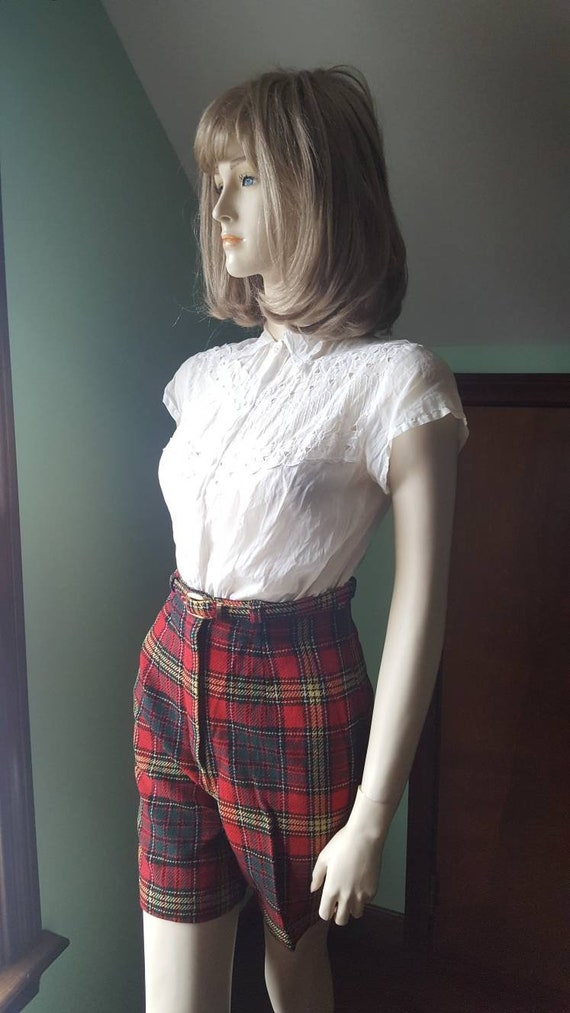 50s Wool Shorts, 50s Plaid Shorts, Size Small, Sm… - image 9