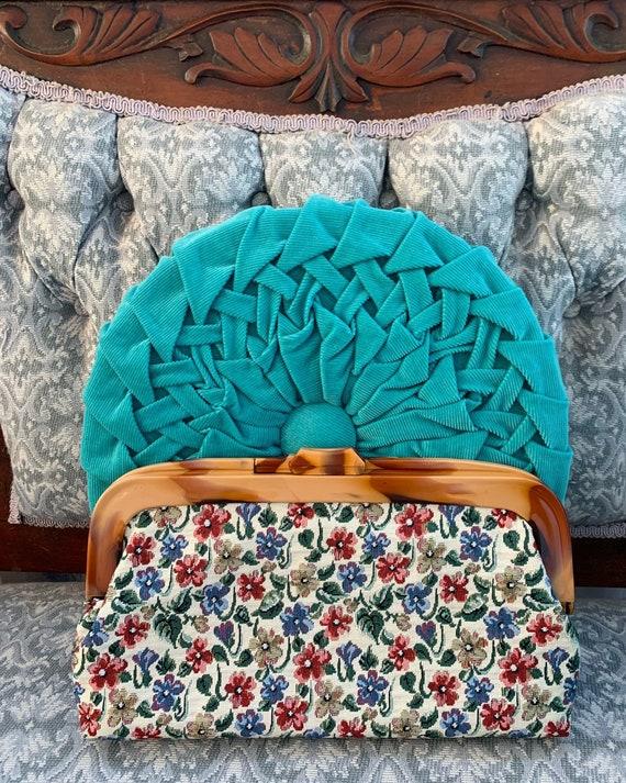50s Tapestry Clutch, Vintage Clutch, Vintage Tapes