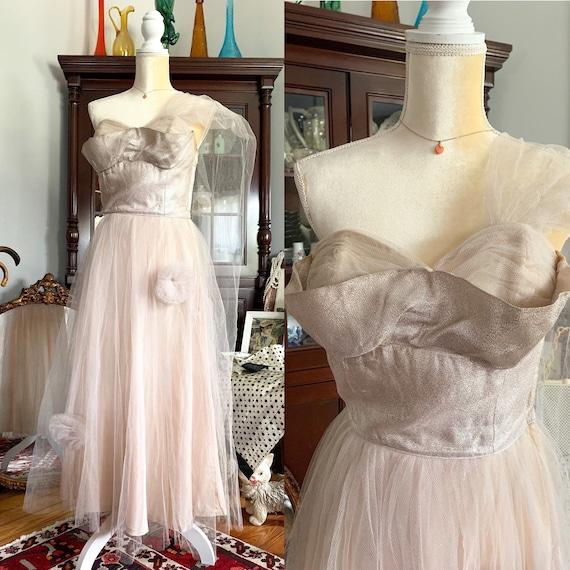 50s Blush Shimmer Tulle Dress, Vintage Strapless T