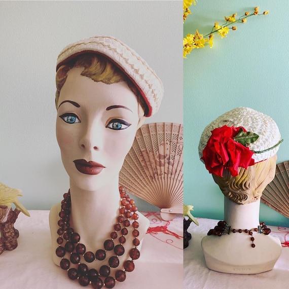 50s Straw Hat, 50s Tilt Hat, 50s Rose Hat, Vintage