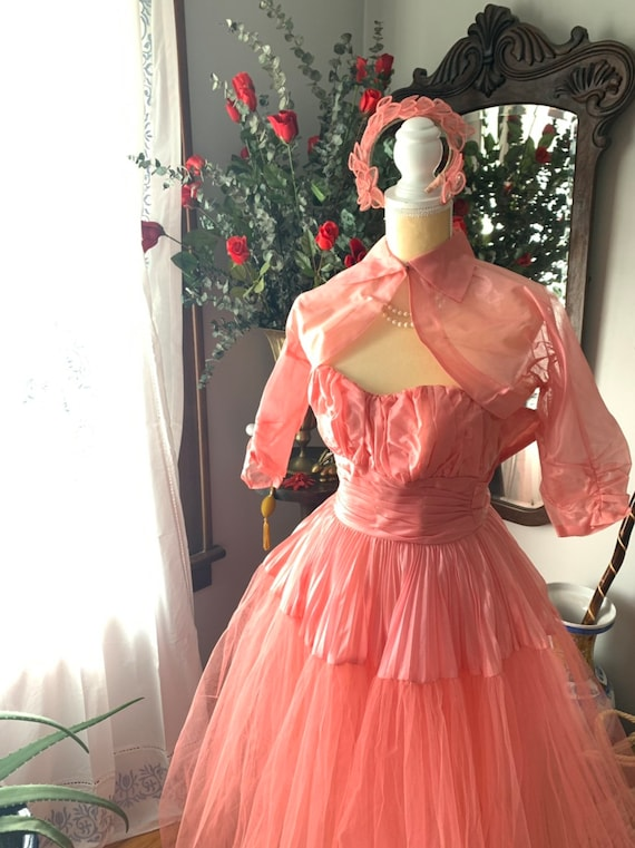 50s Rose Pink Tulle Dress, 50s Pink Tulle Dress, … - image 10