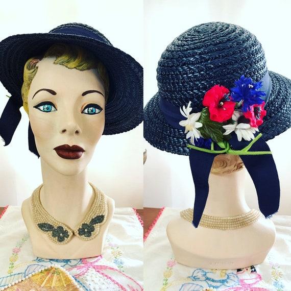 40s Navy Blue Straw Hat, 40s Blue Summer Hat, 40s… - image 2