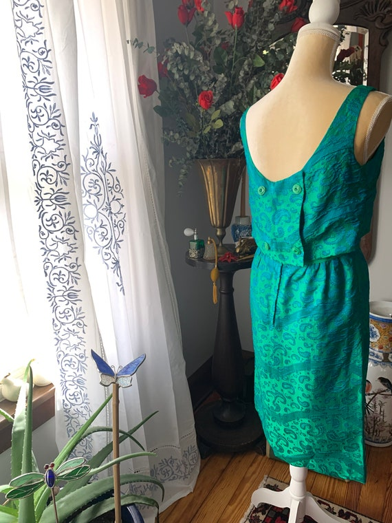 50s Iridescent Green Wiggle Dress, 50s Green Dres… - image 10
