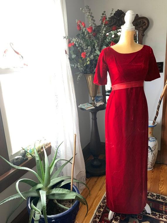 Vintage Red Velvet Dress, 60s Red Velvet Dress, F… - image 9