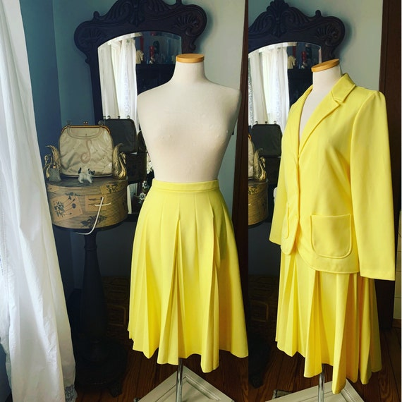 1970s daffodil yellow cable knit dress and jacket vintage 70s set