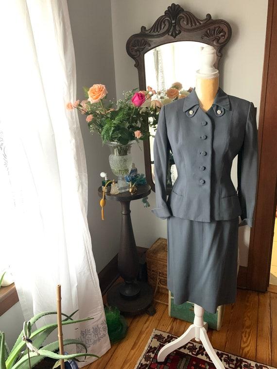 40s Grey Suit, Rothmoor Dress Suit, Vintage Slate… - image 9