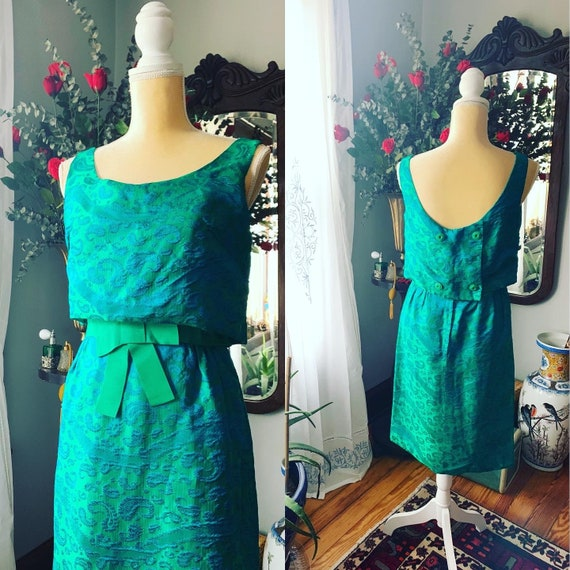 50s Iridescent Green Wiggle Dress, 50s Green Dress