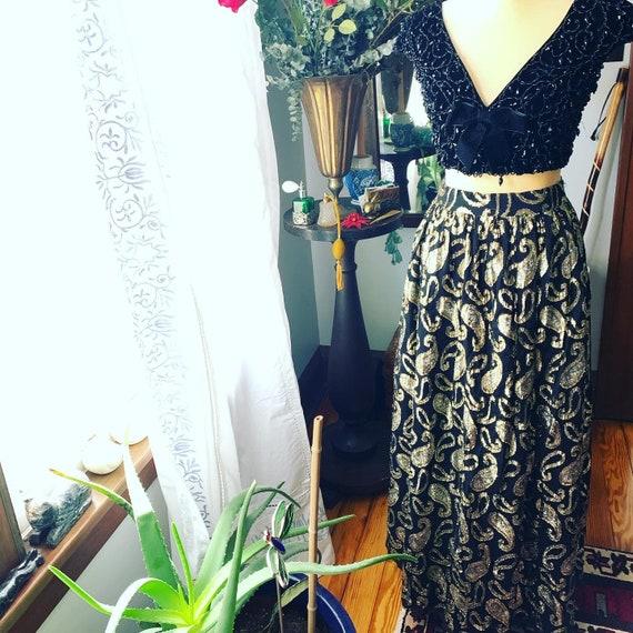 Vintage Metallic Skirt, Vintage Long High Waist S… - image 5