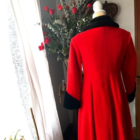 Vintage Red Princess Coat, Vintage Red Wool Fit A… - image 9