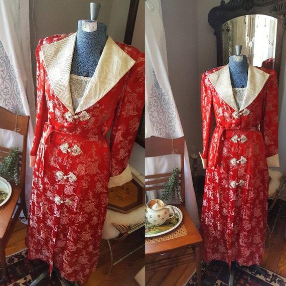 40s Japanese Silk Robe, Kimono Souvenir WW2 Robe,