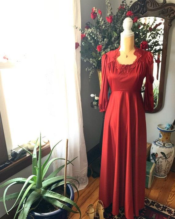 Red Orange 70s Dress, Long 70s Rust Dress, Size Sm