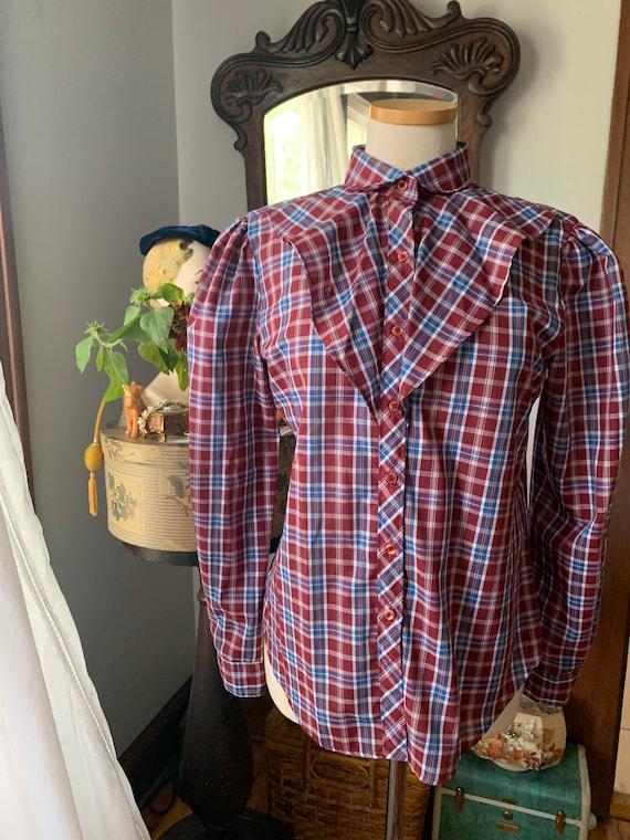 Plaid Prairie Blouse, Vintage Plaid Prairie Shirt… - image 5