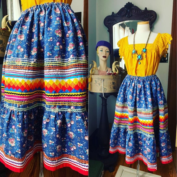Vintage Seminole Indian Quilted Skirt, Native Amer