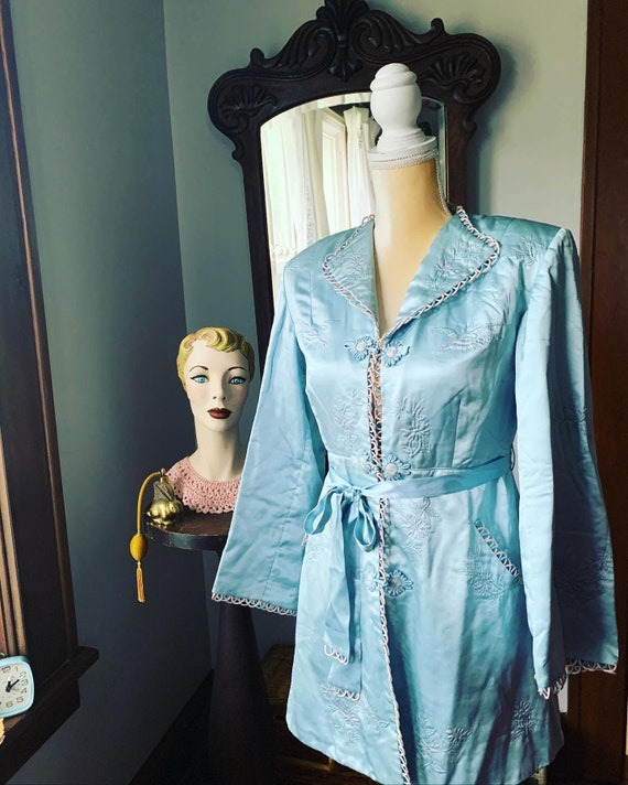 40s Blue Silk Embroidered Crane Robe, 40s Blue As… - image 5