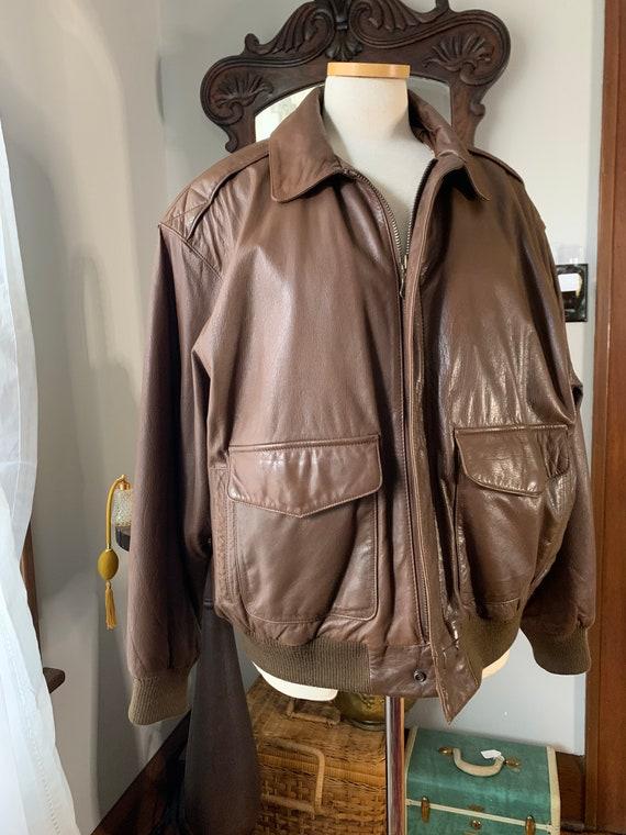 Vintage Mens Brown Leather Bomber Jacket, 90s Leat
