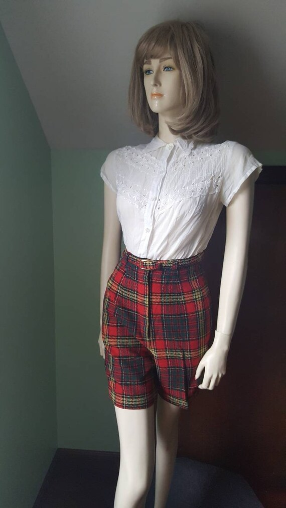 50s Wool Shorts, 50s Plaid Shorts, Size Small, Sm… - image 3