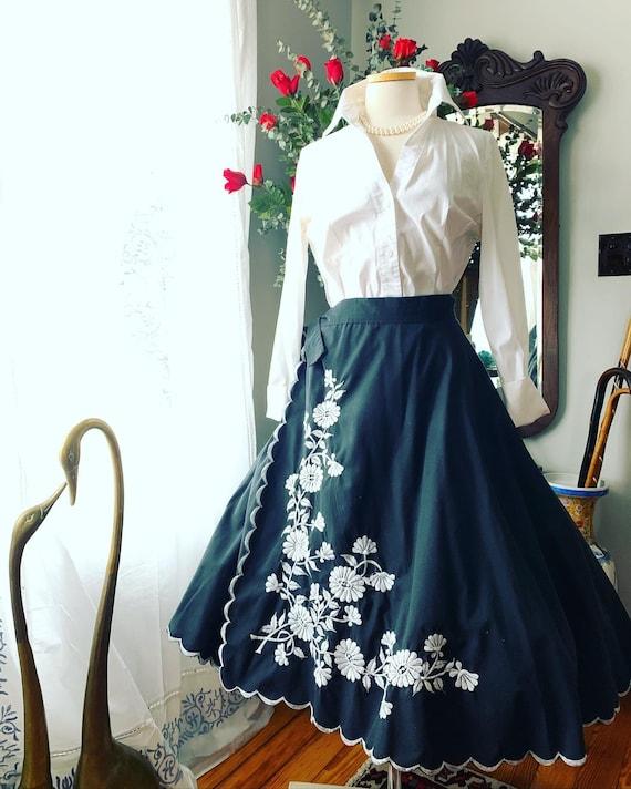 50s Wrap Skirt, 50s Black Circle Skirt, 50s Embroi