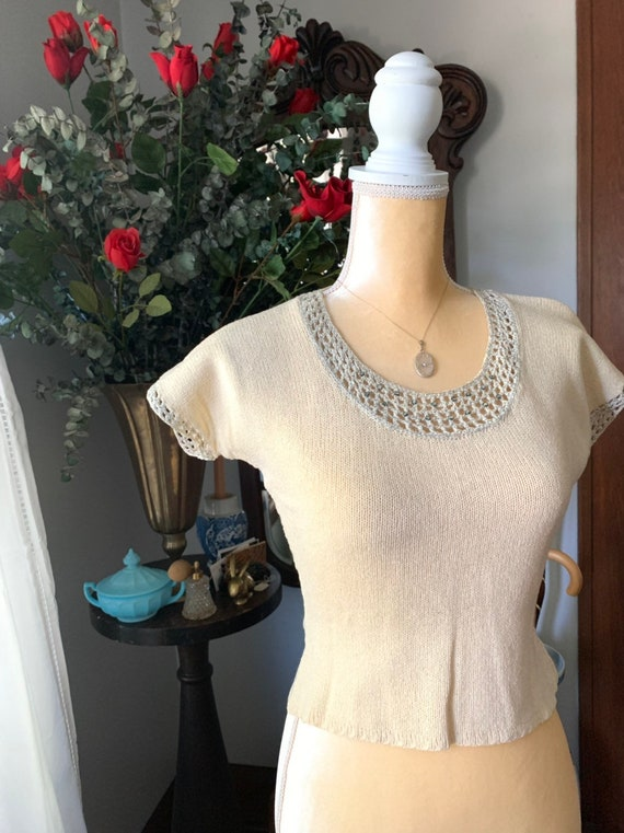 40s Hand Knitted Ivory Sweater, 40s Short Sleeve S