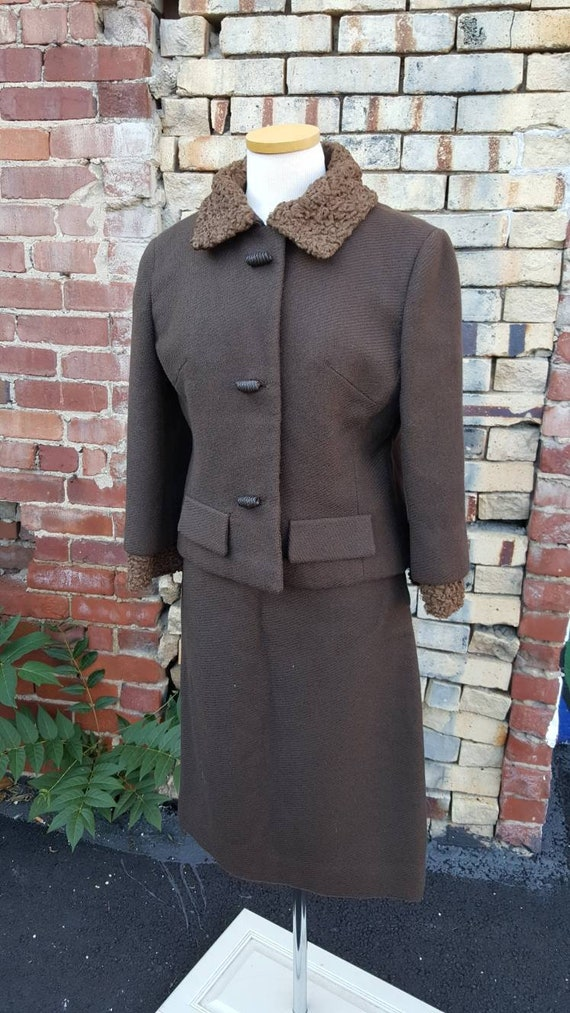 40s 50s Brown Wool Persian Lamb Wool Skirt Suit, … - image 7