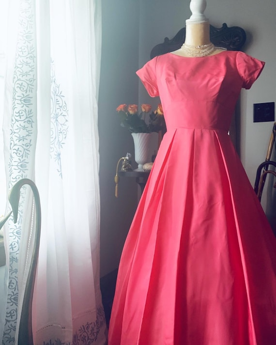 50s Pink Fishtail Dress, 50s Pink Formal Dress, 5… - image 5