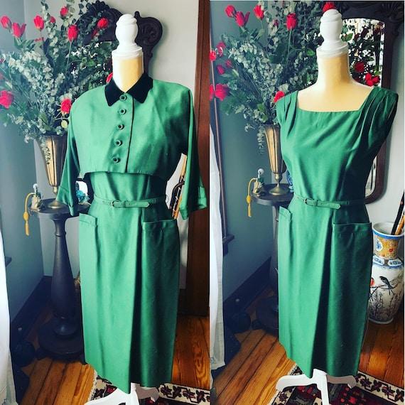 40s Green Dress, R&K Original Dress, Vintage Green