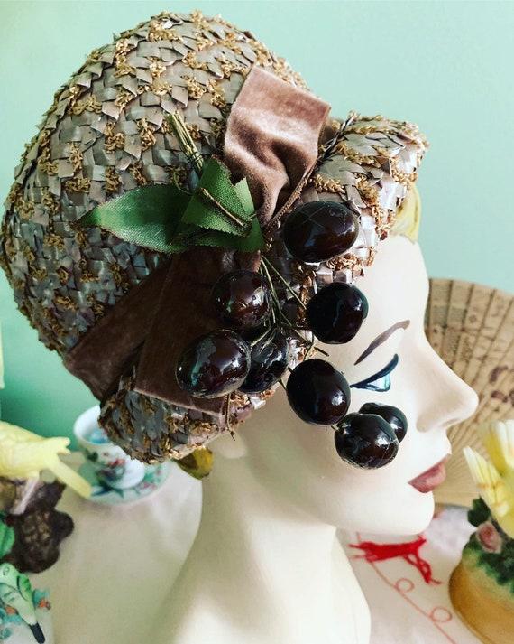 Vintage Raffia Fruit Hat, Lazarus Hat, 50s Straw H