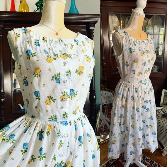 50s Dress, 50s Rose Print Dress, Yellow Blue Rose