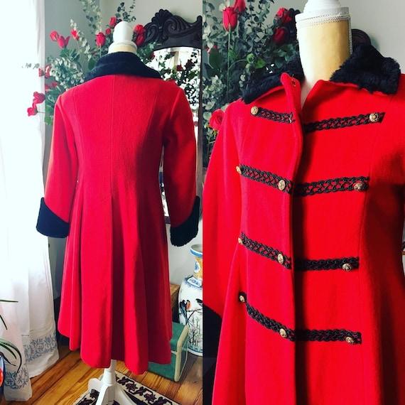 Vintage Red Princess Coat, Vintage Red Wool Fit A… - image 1
