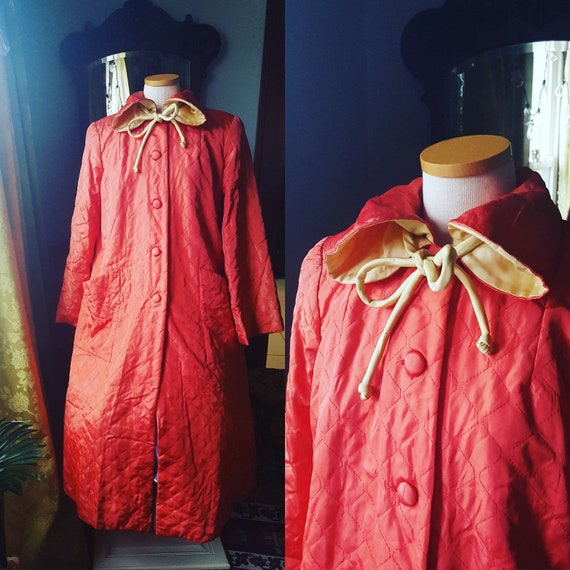 40s Coral Quilted Robe, 1940s Quilted Robe, Vintag