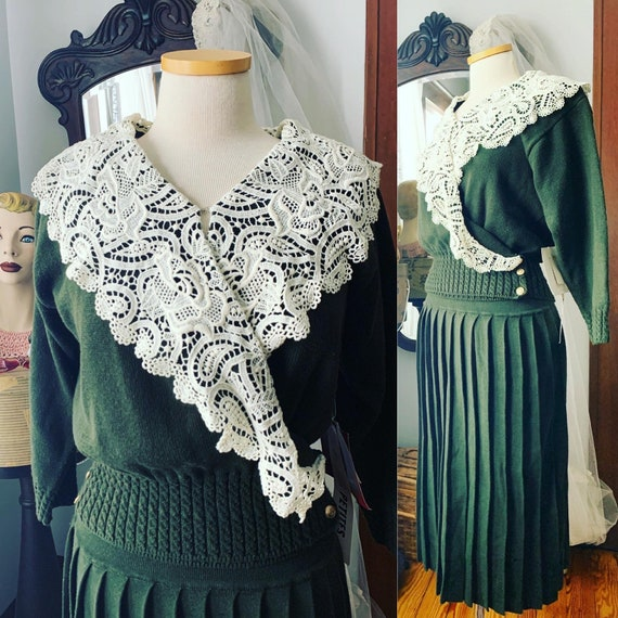 Vintage Sweater Skirt Set, 90s Does 40s Sweater Sk
