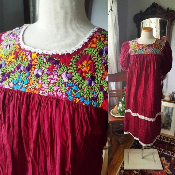 Vintage Embroidered Boho 60s Dress| 60s 70s Mexica