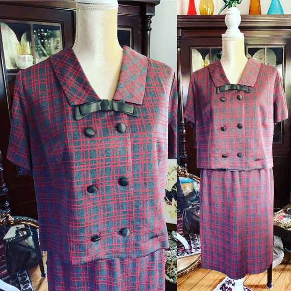 Vintage Grey Red Checked Dress Suit, 60s Dress Sui