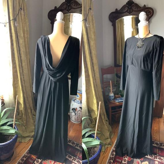 Vintage Low Back Dress, Black Evening Dress, 60s D