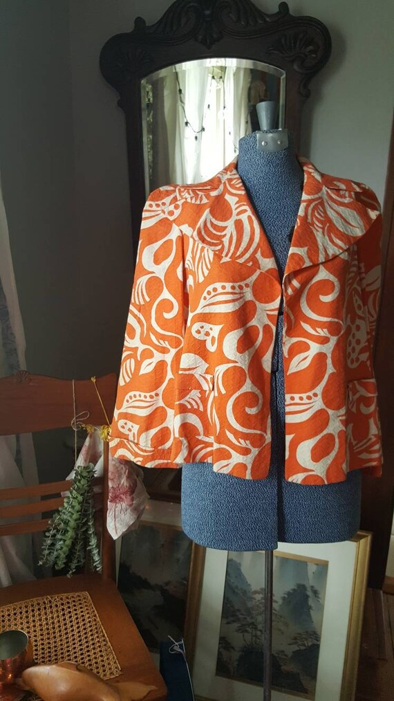 40s Orange Summer Jacket Blazer, 1940s Vintage Psy