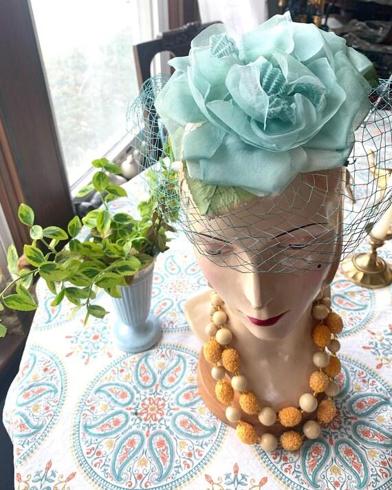 50s Blue Rose Fascinator, 50s Rose Mini Hat, 50s … - image 2