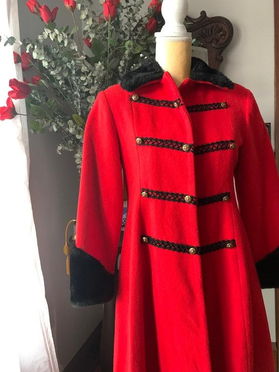 Vintage Red Princess Coat, Vintage Red Wool Fit A… - image 2