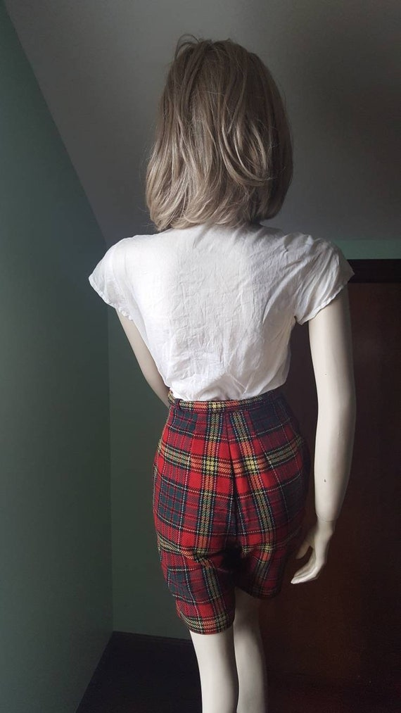 50s Wool Shorts, 50s Plaid Shorts, Size Small, Sm… - image 4
