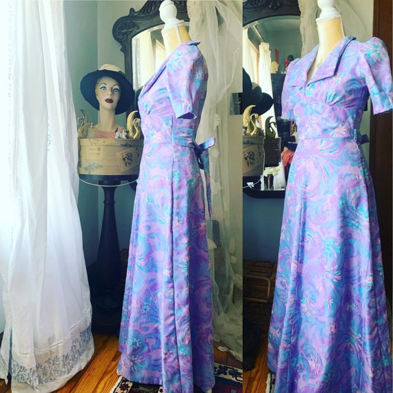 70s Purple Psychedelic Dress, Vintage Purple Sprin