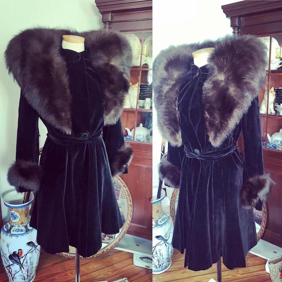 1930s Princess Coat, Fur Trimmed Princess Coat, Vi